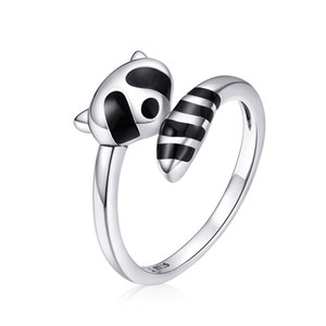 New 925 Sterling Silver Raccoon Ring Fashion Accessory SCR652