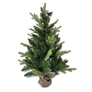 3FT PE mixed leaf sackcloth tree 130 leaf tree body is beautiful with larch fruit sackcloth covered with cement base sackcloth tree