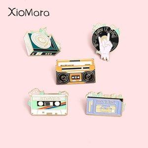 Retro Record Tape Radio Enamel Pins Moda Música Broches Lapela Badges Atacado Bonito Pin Jóias Presentes Para Amigos