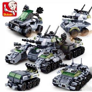 Sluban Military Tank Véhicule Créateur 4 en 1 WW2 Pistolet Pistolet Bâtiment Blocs Base militaire Armée Armée Soldats Figurines Briques Boys Jouets X0127