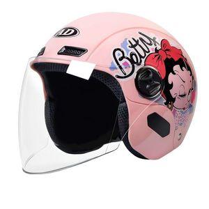 Motorcycle Helmets Cute Electric Helmet Single Lens Visors Pink Motorbike Bicycle Men Women Summer Scooter Moto Casco