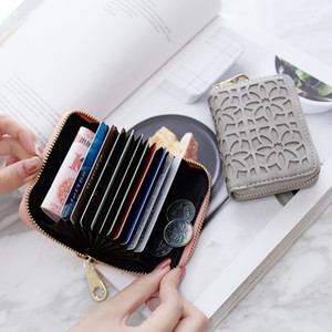 Women Hollow Card Holder Zipper Frosted Leather Business Card Case Coin Purse Passport Cover Cards Wallet
