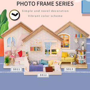 Doll House DIY Miniature with Wooden Furniture Assemble DollHouse Kit with Music box Doll Home Toys For Adult Christmas Gift 210225