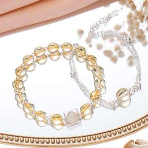 Badu Natural Crystal Pulseira Movimento das Mulheres Pêssego Flor Morango Cristal Topázio Pulseira Transfer Transfer Beads para ajudar amigos acadêmicos