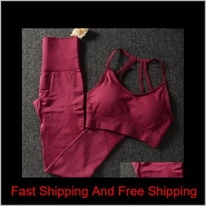 Women Yoga Set Seamless Fitness Clothing Sportswear Woman Gym Leggings Padded Push-up Strappy Sports Bra 2 Pcs qylhXC hjfeeling