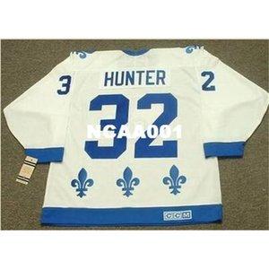 001 # 32 Dale Hunter Quebec Nordiques 1985 CCM Vintage Retro Away Home Hockey Jersey oder benutzerdefinierte Neiner Name oder Nummer Retro Jersey