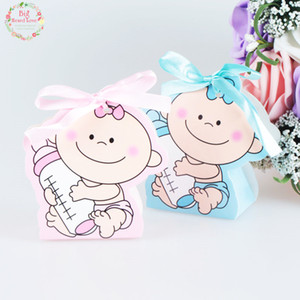 48pcs set Baby Girl And Boy Paper Gift Box Party Baby Shower Candy Box Baby Feeding Bottle Birthday Party Decorations Kids