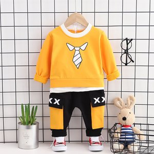 Kids Outfit Set Baby Clothes Boys Trendy Spring Designer Loungewear Children Cute Boutique Yellow Free Shipping Shirt+Pants 2pcs J0220