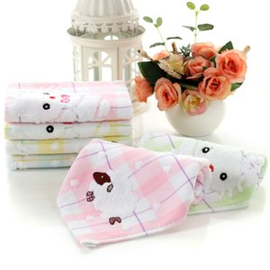 Baby Newborn Cartoon Print Cotton Towels Soft Comfortable Infant Double-layer Kerchief Square Towel with Hooks WLL67