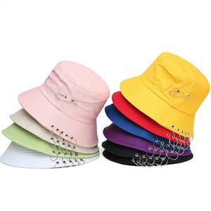 Summer Cotton Bucket Hat For Men Women Fashion K POP Iron Ring Bob Popular Cap Handmade Outdoor Sun Hat C0305