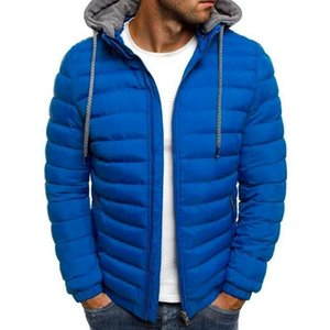 Men's Jackets Men Winter Warm Solid Color Casual Puffer Bubble Hoodie Jacket Coat Quilted Padded Outwear Tops