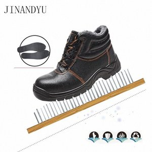 Outdoor Werkstiefel Winter Warmstahl Zehen Safety Schuhe Leder Schneeschuhe Männer Schuhe Anti Smashing Anti Piercing Work f24k #