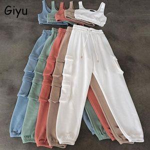 Giyu 2 Pezzo Set Donne 2021 Autunno Casual Sport Set Set Crop Pantaloni Top Pantaloni Donne Abbigliamento Due pezzi Bianco Tuta da donna Pantaloni donna