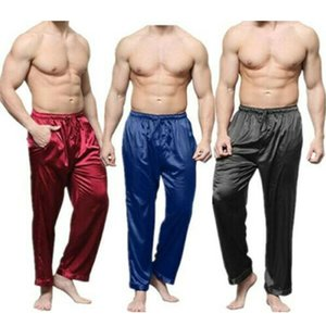 Mens Silk Satin Pajamas Pyjamas Pants Lounge Pants Sleep Bottoms Sexy Underwear Size S-XL Plus Summer Sleepwear Nightwear