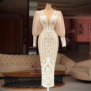 Classy Lace Arabic Evening Dresses Sexy V Neck Sheath Long Sleeves Prom Gowns Ankle Length Formal Dress