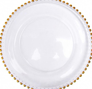 2021 Stocked 13inch round wedding clear silver gold glass beaded charger pates glass plate for wedding table decoration