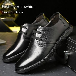 2019 Nuovo 100% in pelle Business Casual Mens Shoes Plat Bottom Shoes Traspirable Lazy Shoes Single Soft Bottom Wear YeelCa W8A2 #