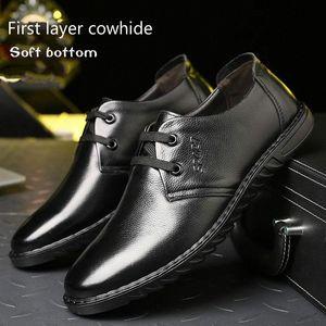 2019 NOUVEAU 100% Cuir Entreprise Casual Hommes Hommes Chaussures à fond plat Respirant Chaussures de paresseuses Simple Soft Fond Port Yeeloca W8A2 #