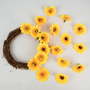 4.5cm Sunflower Artificial Flowers Head For Home Wedding Party Decor DIY Wreath Garland Gift Box Scrapbooking Craft Fake Flower