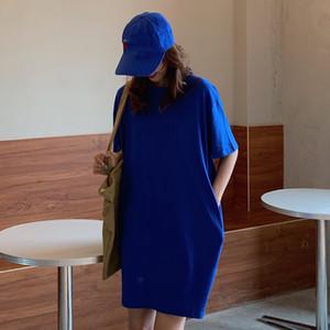 Mujeres casuales sueltos sólidos t shirt o cuello mini vestido batwing manga corta vestidos básicos vestidos