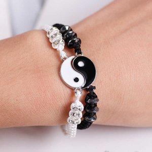 Luxury Designer Jewelry Pair Bracelets Leather Cord Retro Yin and Yang Tai Chi Army Hanger Black White Two Pieces of Tissue Men Women Love Bracelet Venom