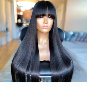 Free Shipping Brazilian 100% Real Human Hair Silky Straight With Bangs Full Lace Wig Lace Front Wig 130%-180% Density in stock