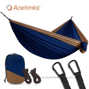 Acehmks Two pPerson Adults Camping Hammock Nylon Fabric Hammock Straps Portable Folding Travel Swing For Adults