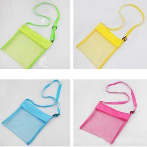 4 Colos Summer Beach Storage Bag For Kids Children Mesh Shell Toys Beach Net Organizer Bag Cross Should Bag Custom ship WX9-422