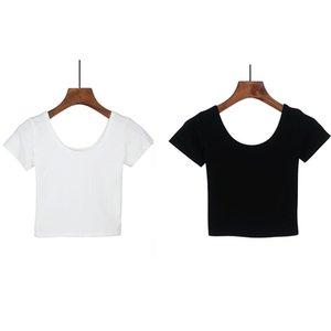 Damen T-Shirt 2021 Sommer Frauen T-shirt Kurzarm O-Neck Casual Cotton Pure Farbe Schwarz Weiß Mode Tops T-Shirts Weibliche Damen Crop Top