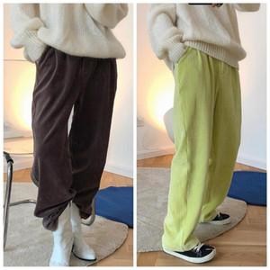 Obrix outono primavera suave confortável solta mid cintura cor sólida algodão corduroy calças para mulheres