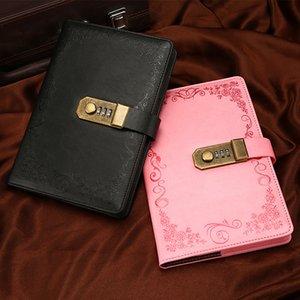 Libro de contraseñas con Lock Diary engrosado A5 CREATIVE Hand Ledger Student Notepad Papelería Notebook