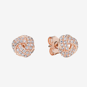 Rose gold plated CZ diamond Wedding Earring Women Summer Jewelry with Original box for Pandora 925 Silver Knot Stud Earrings set