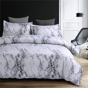 2021 New Spoiler Comforter Sets Luxury Bed 3 4 White Sheets Set King queen Duvet Size Quilt Polyester Bedclothe Marble Design Covers Pgwi