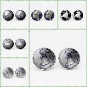 Mundo Terra Mapa Sete Oceano Tempo de Vidro Gem Tufflinks Globo Camisa Masculina Charm Globo Cufflinks Diy Photo Personalização L0310