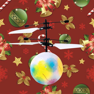 LED light Christmas gift Santa Flying Ball Luminous Kid's Flight Balls Electronic Infrared Induction Aircraft Remote Control Toy LED Light