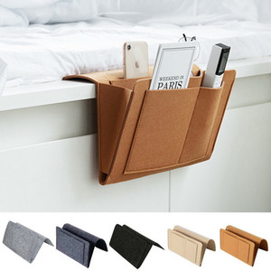 1pc Felt Bedside Pouch Desk Bag Sofa Tv Remote Control Hanging Caddy Couch Storage Organizer Bed Holder Pockets