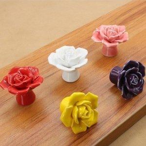 Cerâmica Rose Flor Knob Gaveta Puxadores Handles Klichen Gabinete Puxadores Handles Handleboard Knows Lidar com hardware de móveis