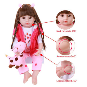 56cm Soft Full Silicone Body Reborn Baby Doll Toys Vinyl Princess Toddler Babies Girl With Giraffe Boneca Realistic Alive Bebe 0222