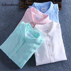 Schinteon erkekler ilkbahar yaz pamuk keten gömlek ince kare yaka rahat fanila erkek artı boyutu 210316