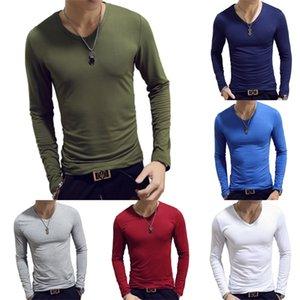 V Neck Mens Shirts Plain Long Sleeve T Shirt Men Slim Fit Undershirt Armor Summer Casual Tees Tops Underwear Tshirts L0223