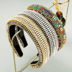 Lüks Barok Tam Kristal Bejeweled Kafa Kadınlar Için Muhteşem Rhinestone Yastıklı Hairband Kızlar Parti Saç Aksesuarları
