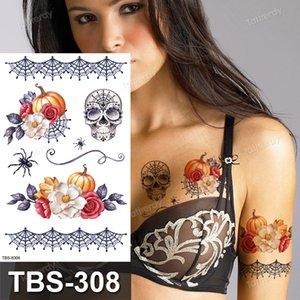 Waterproof temporary tattoos sticker tattoo stickers Halloween party scar fake sleeve tatoo Spider Scarecrow flower wolf Skull Tatoos Children's girls arm body art