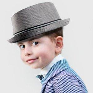 Wide Brim Hats Fashion Child Fedora Hat Boy Girl Flat Pork Pie For Kids Porkpie Jazz 2Size