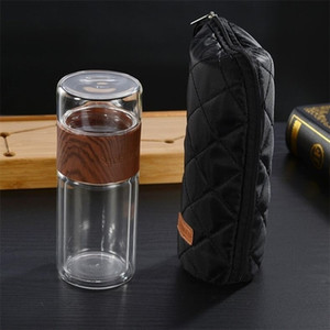 200ml Glass Tea Water Bottle Travel Drinkware With Bag Portable Double Glass Tea Infuser Tumbler Separation Of Tea Filter Bottle Y200330