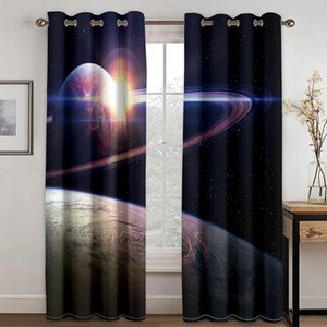 Curtain & Drapes Space Planet 3D Printing Pattern Adult Men's And Women's Bedroom Living Room Shade Custom Set With Hook Accessories