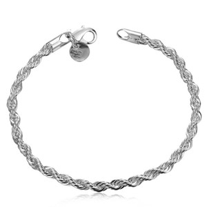100% new high quality 8 inch long 925 Silver Twisted Rope Chain Bracelet FREE SHIPPING 10pcs   lot 92 R2