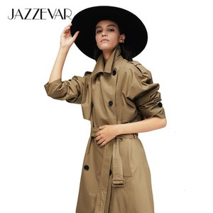 Jazzevar 2021 New Arrival Autumn Trench Coat Women Cotton Washed Long Double-breasted Trench Loose Clothing High Quality 9013