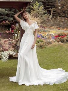 2021 A Line Papilio Beach Wedding Dresses Off Shoulder Lace Appliqued Sweep Train Boho Wedding Dress Simple Bridal Gowns Robes De Mariée