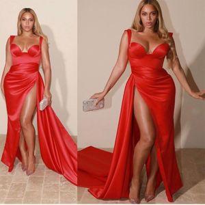 Sexy rote Abendkleider 2021 mit Dubai Formal Gowns Party Prom Kleid Arabisch Naher Osten von Schulter Mermaid High Split