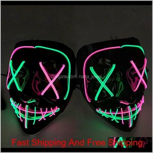 7 Styles Halloween Led Glowing Mask Party Cosplay Masks Club Lighting Bar Scary Masks Zza1201 50Pcs Km7Yi Z89U0